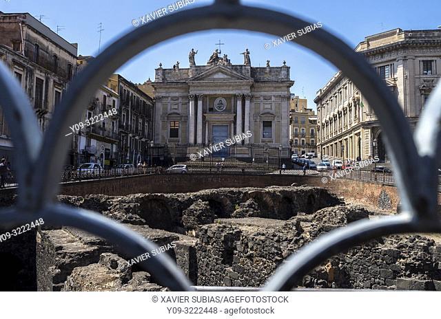 San Biagio, Roman amphitheatre, Stesicoro square, Catania, Sicily, Italy