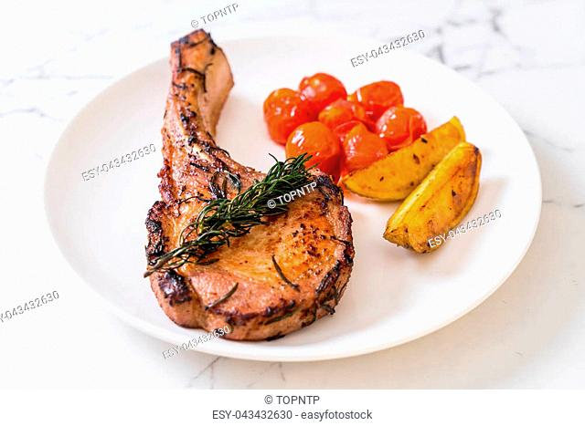 pork chop steak on plate