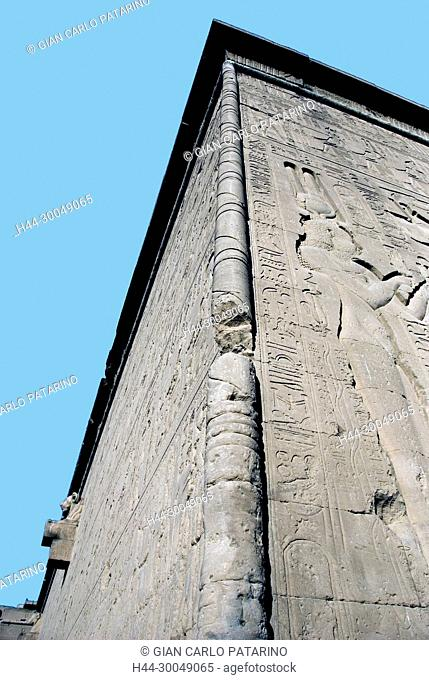 Egypt, Dendera, Ptolemaic temple of the goddess Hathor.Carvings on external wall