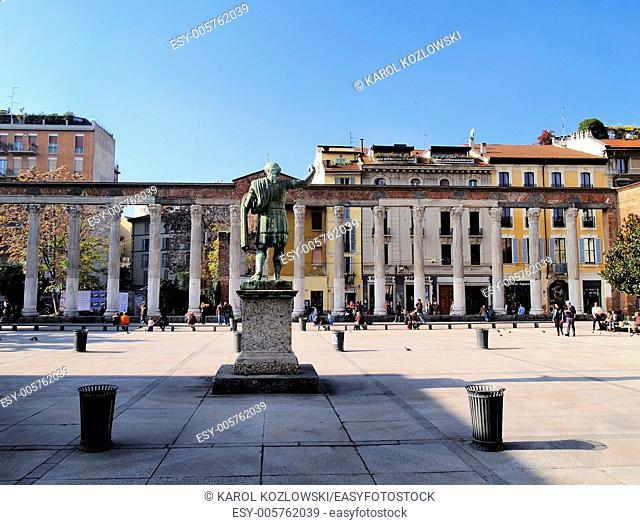 Colonne di San Lorenzo - famous ancient landmark in Milan, Lombardy, Italy