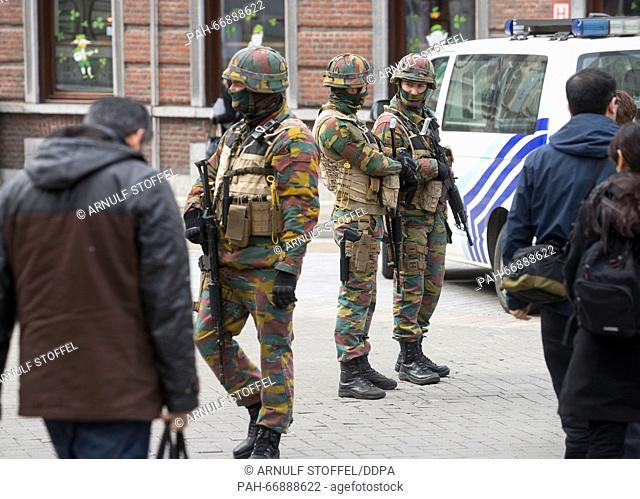 Security forces patrol the area surrounding Maelbeek metro station inBrussels, Belgium, 22 March 2016. At least 26 people have been killed on the same day in a...