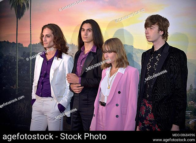 Victoria De Angelis, Ethan Torchio, Damiano David and Thomas Raggi of the Maneskin. Rome (Italy), August 2nd, 2019
