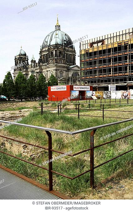 Demolition work at the Palace of the Republic Palast der Republik next to the Dome Berlin Germany