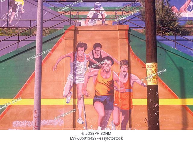 Street art depicting joggers in the Los Angeles Marathon