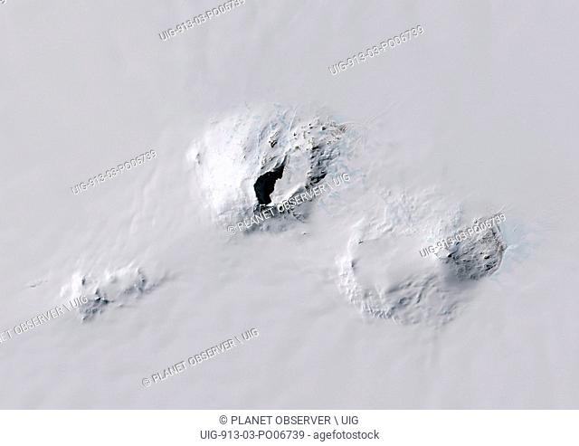 Satellite view of Mount Sidley, the tallest volcano in Antarctica. This image was taken on November 20, 2014 by Landsat 8 satellite