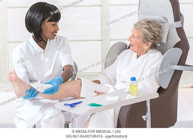 Home consultation senior woman