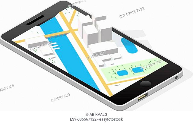 Isometric city on a smartphone screen. EPS10 vector