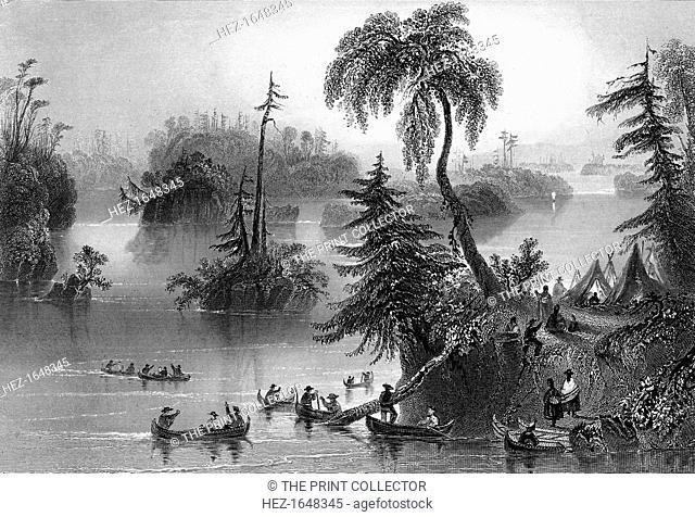 Scene among the Thousand Isles, Canada, 1842