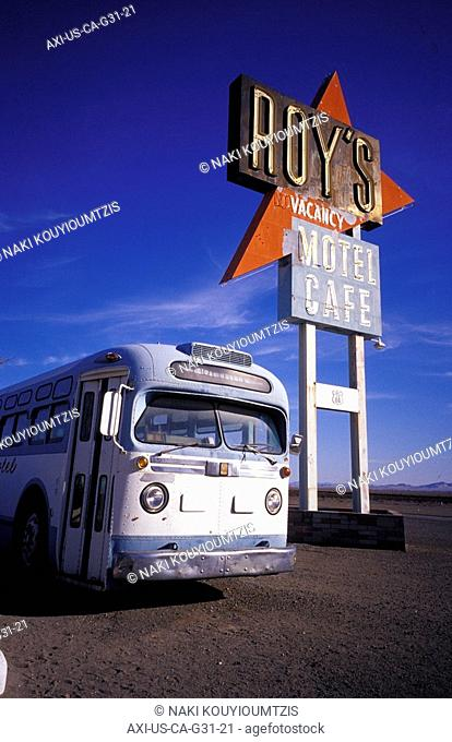 Vintage bus by ROY's motel and cafe sign on Route 66