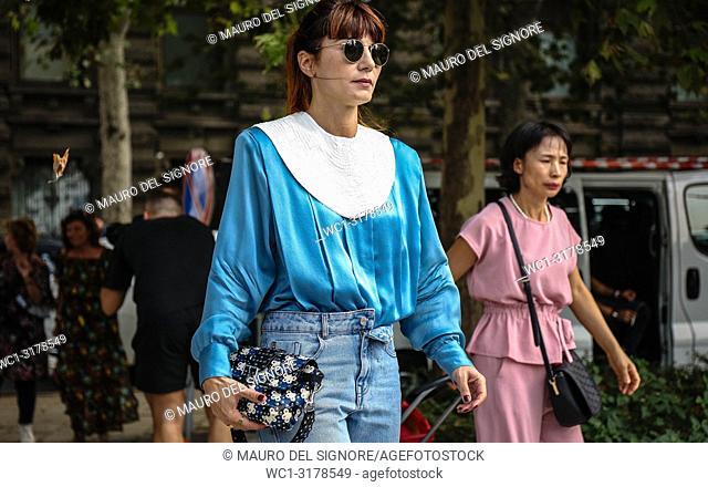 MILAN, Italy- September 19 2018: Daniela Zuccotti on the street during the Milan Fashion Week