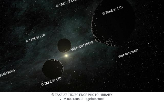 Animation of a flight past several small bodies in the Kuiper Belt, a huge disc of icy debris that orbits the Sun beyond Neptune