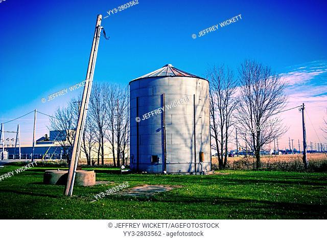 Farm silo with shadows near Sheridan, Indiana, USA