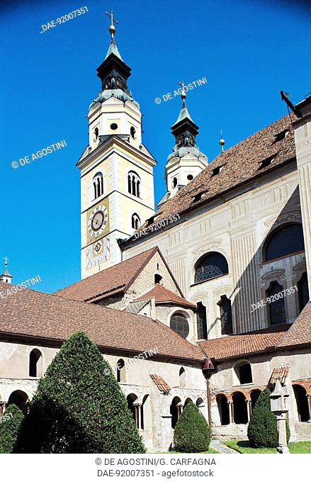 View of the cathedral (Brixen Cathedral) and cloister, Bressanone, Trentino-Alto Adige, Italy