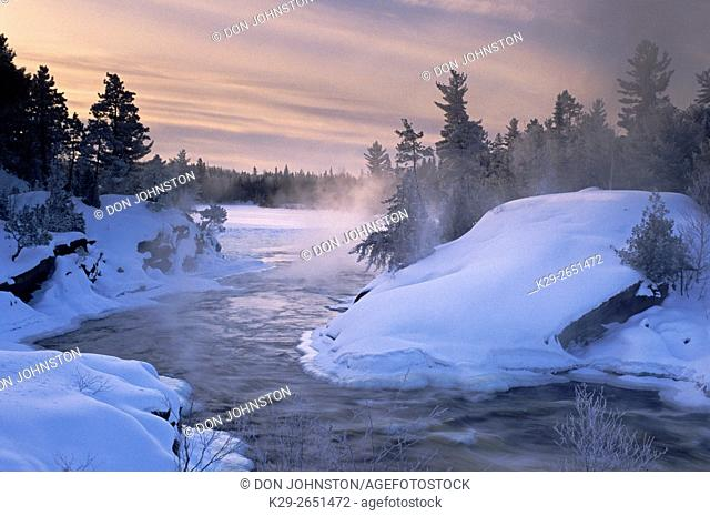Wanapitei River Rapids in winter, Wanup, Ontario, Canada