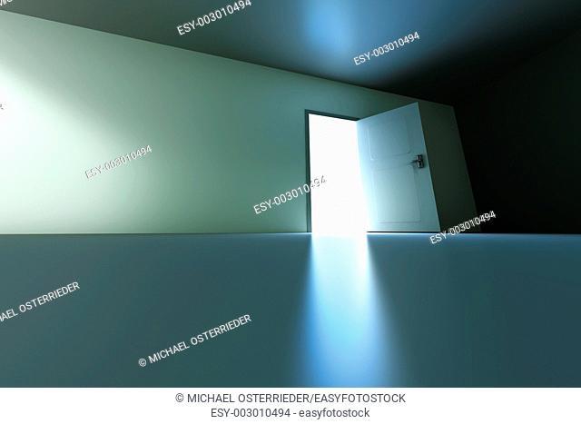 A open door in a empty room  3D rendered illustration