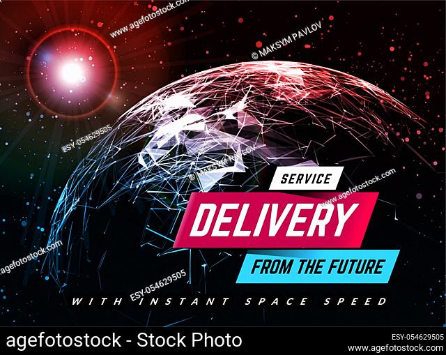 Delivery service design background with planet. Logistic concept. Vector illustration