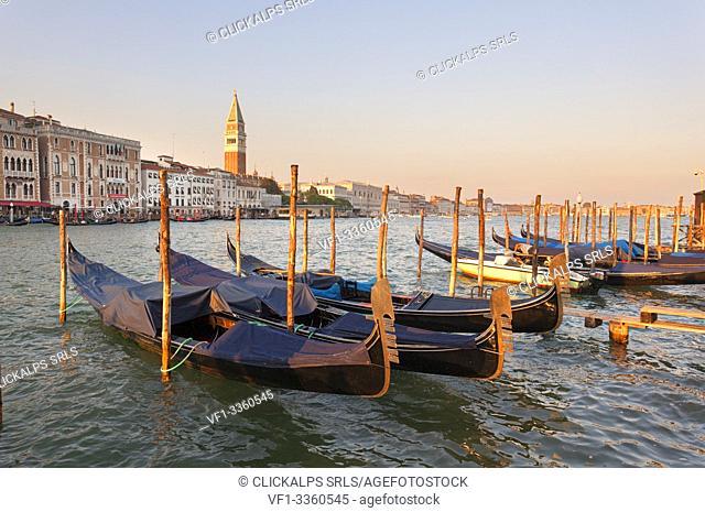Gondolas moored at poles on Fondamenta San Giovanni, Venice, Veneto, Italy