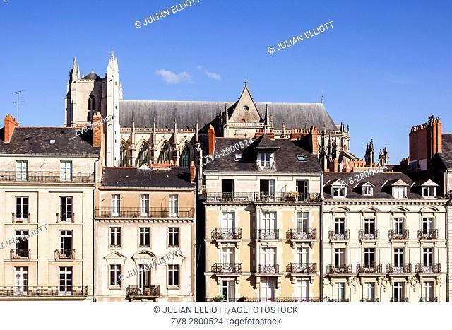 The cathedral of Saint Peter and Saint Paul in the city of nantes. The view across the rooftops is seen from the Ducal palace