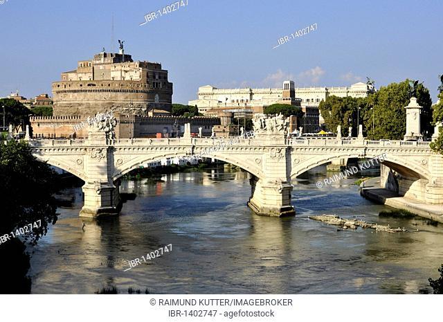 Ponte Vittorio Emanuele II bridge, Tiber River, Castel Sant'Angelo, Castle of Angels, Rome, Lazio, Italy, Europe