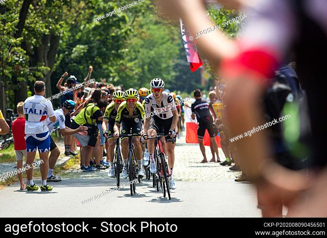 American cyclist Chad Haga (Sunweb), white dress, competes during the Czech Cycling Tour in Sternberk, Czech Republic, on August 9, 2020