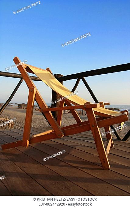 Folding chair at the beach
