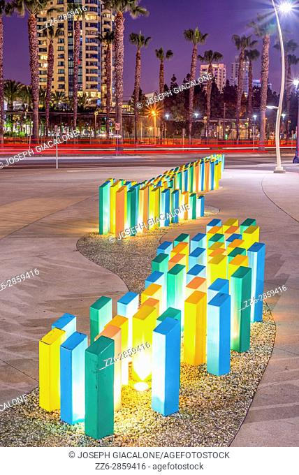 Lighted colored columns next to the San Diego Marriott Marquis & Marina. Downtown San Diego, California