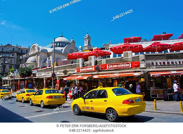 Taxis and kebab restaurants, Taksim square, Beyoglu district, central Istanbul, Turkey, Eurasia