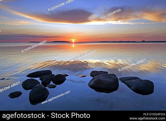 Sunset over the Baltic Sea from the Pomeranian island Rügen / Ruegen, Mecklenburg-Vorpommern / Mecklenburg Western Pomerania, Germany