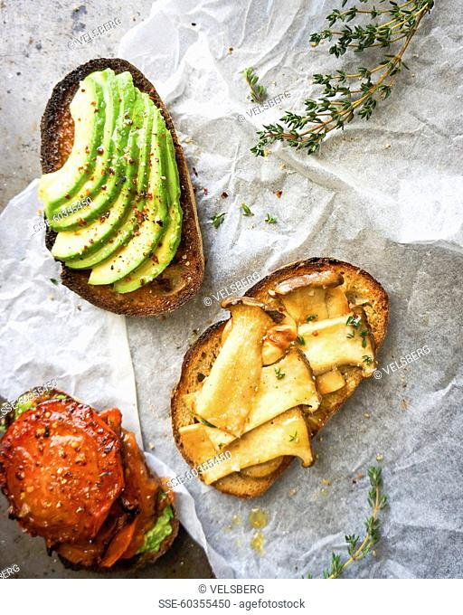 Vegetable toasted sandwich trio