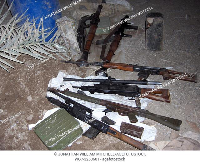 IRAQ -- 15 Aug 2005 -- Iraqi and U. S. Soldiers seized this cache of weapons after a failed terrorist attack on a patrol base Aug. 11