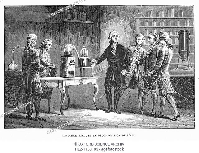 Antoine Laurent Lavoisier, French chemist, demonstrating his discovery of oxygen, 1776 (1874). On the table in the right background of the picture is his...