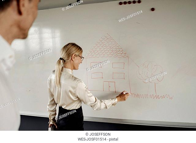 Businesswoman drawing house on whiteboard