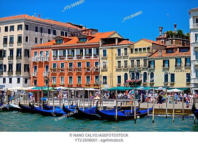 Moored gondolas on Riva degli Schiavoni, Venice, Veneto, Italy