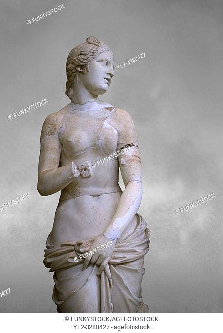 The Roman Venus Statue, the Goddess of Love, follows the style of a modest Aphrodite, known by other Roman replicas are copies of Ttththird century BC...