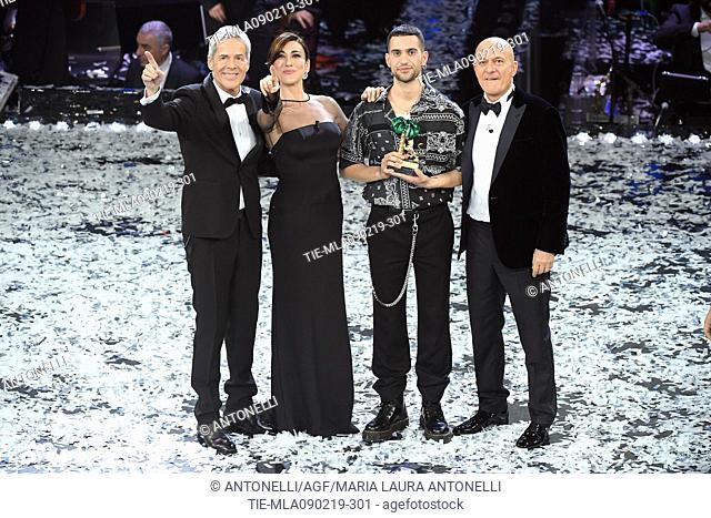 Mahmood, winner of 69th Festival of the Italian Song. Mahmood with Claudio Baglioni, Virginia Raffaele, Claudio Bisio. Sanremo, Italy 10 Febr 2019