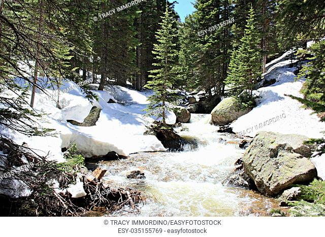 The rapidly flowing waters of Glacier Creek in the forest of the Rocky Mountains National Park, Colorado, USA