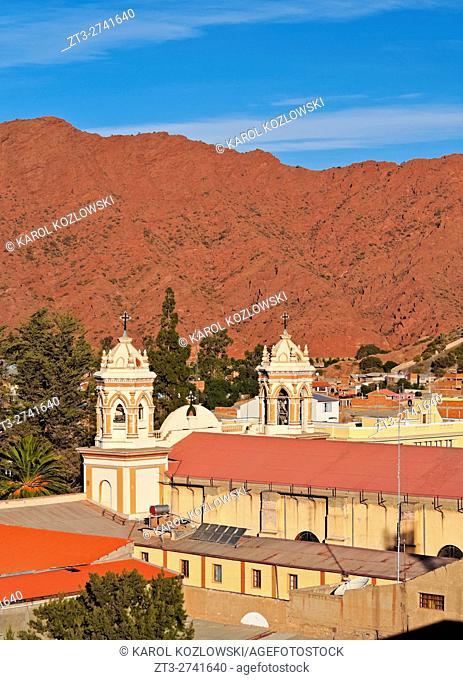 Bolivia, Potosi Department, Sud Chichas Province, Tupiza, Elevated view of the Nuestra Senora de la Candelaria Cathedral