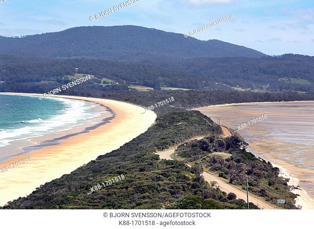 The Neck, a narrow isthmus connecting South and North Bruny Island  Tasmania, Australia