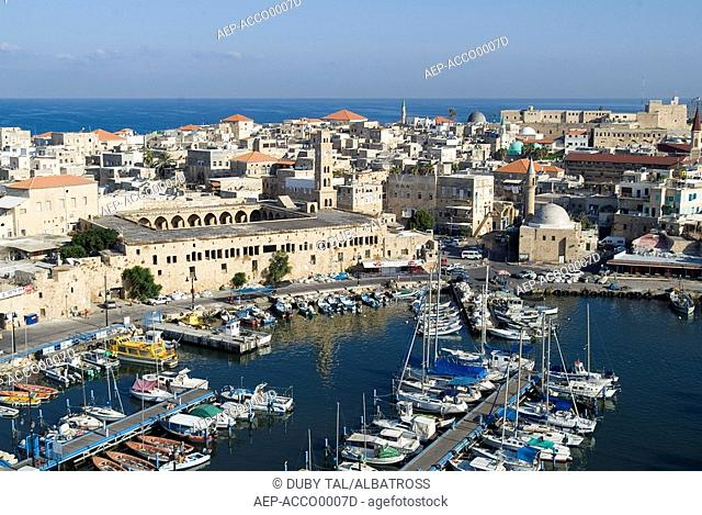 Aerial photograph of the old city of Acre in the western Galilee