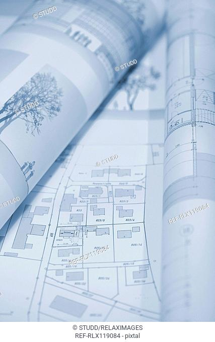 Architectural blueprint drawing floor plan house