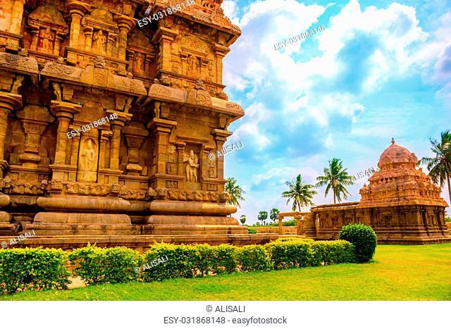 part of complex architecture Hindu Temple, ancient Gangaikonda Cholapuram Temple, India, Tamil Nadu, Thanjavur (Trichy)