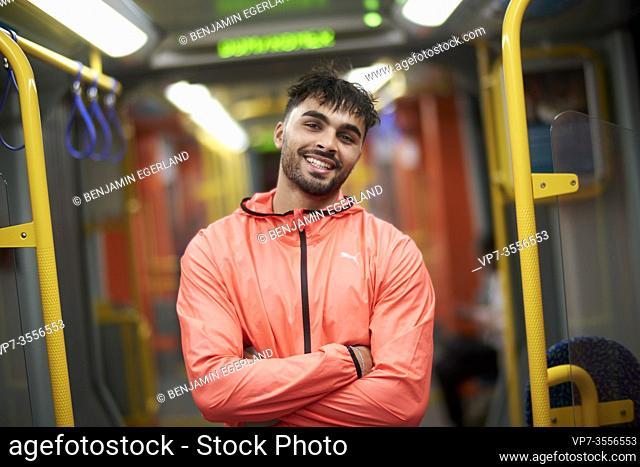 Man in public transport