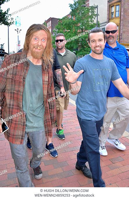 Actors on set of the 'It's Always Sunny in Philadelphia' tv show production Featuring: David Hornsby, Rob McElhenney Where: Philadelphia, Pennsylvania