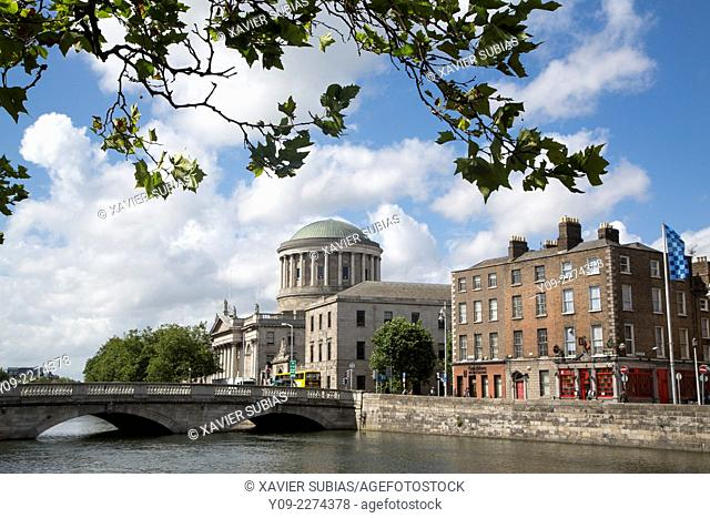 O'Donovan Rossa Bridge and The Four Courts, Dublin, Leinster, Ireland