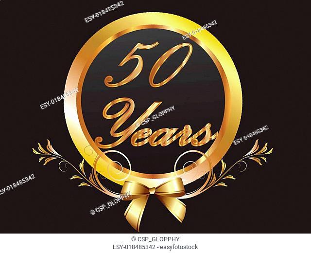 Gold 50th anniversary birthday vect