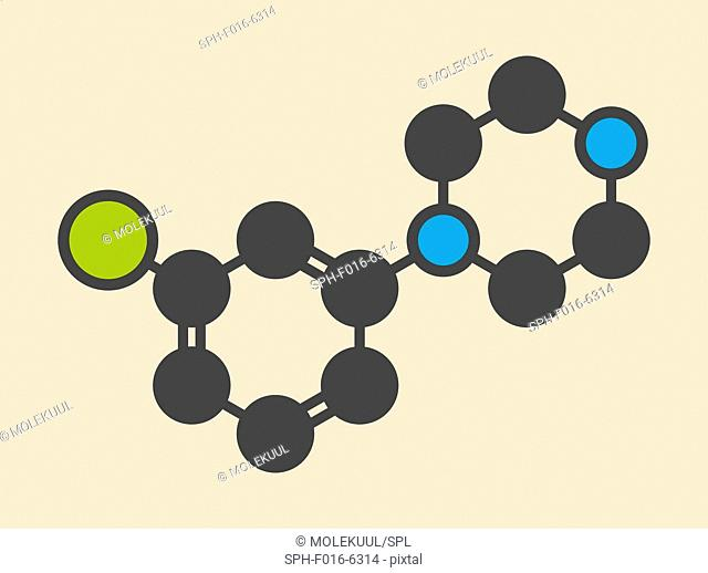 Meta-chlorophenylpiperazine (mCPP) psychoactive drug molecule. Stylized skeletal formula (chemical structure). Atoms are shown as color-coded circles: hydrogen...