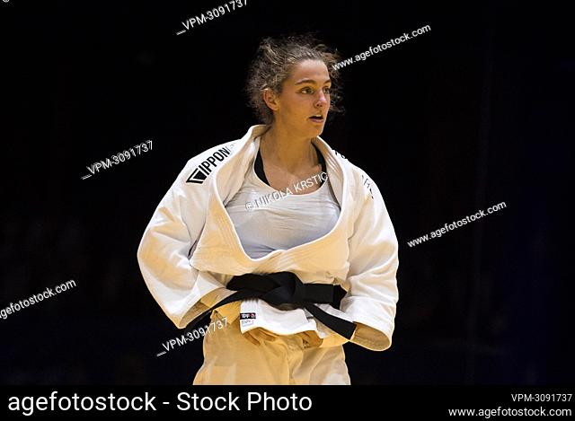 Belgian Lien Meeuwssen picture in a fight of the women -70kg category at the European Judo Open in Sarajevo, Bosnia and Herzegovina, Sunday 19 September 2021