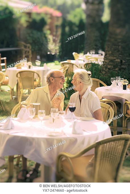 Senior couple at a restaurant