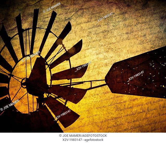 Windmill close up at sunset