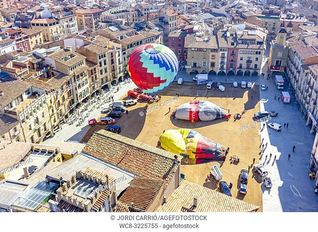 VIC, CATALONIA, SPAIN - MARCH 2018: Aerial view of the last participants who are making the last preparations to start the flight in the XXXV edition of the...
